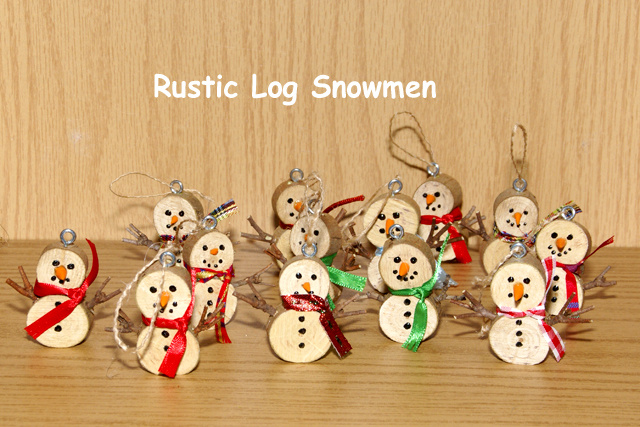 these cute snowmen are made using natural wood material there are several different prices and sizes we have attached a rope hanger to make it a wonderful